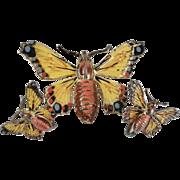 Vintage Sterling Hand Painted Enamel Butterfly Brooch Pin & Earrings
