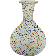 """SOLD Vintage Modern Abstract Hand-Blown Pinches Frosted Glass Vase 11 11/16"""""""