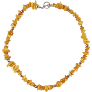 """SALE Vintage Butterscotch Amber Chip And Bead Necklace 19"""""""