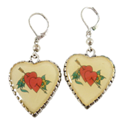 SALE Double Pierced Heart Tattoo Style Retro Dangle Earrings