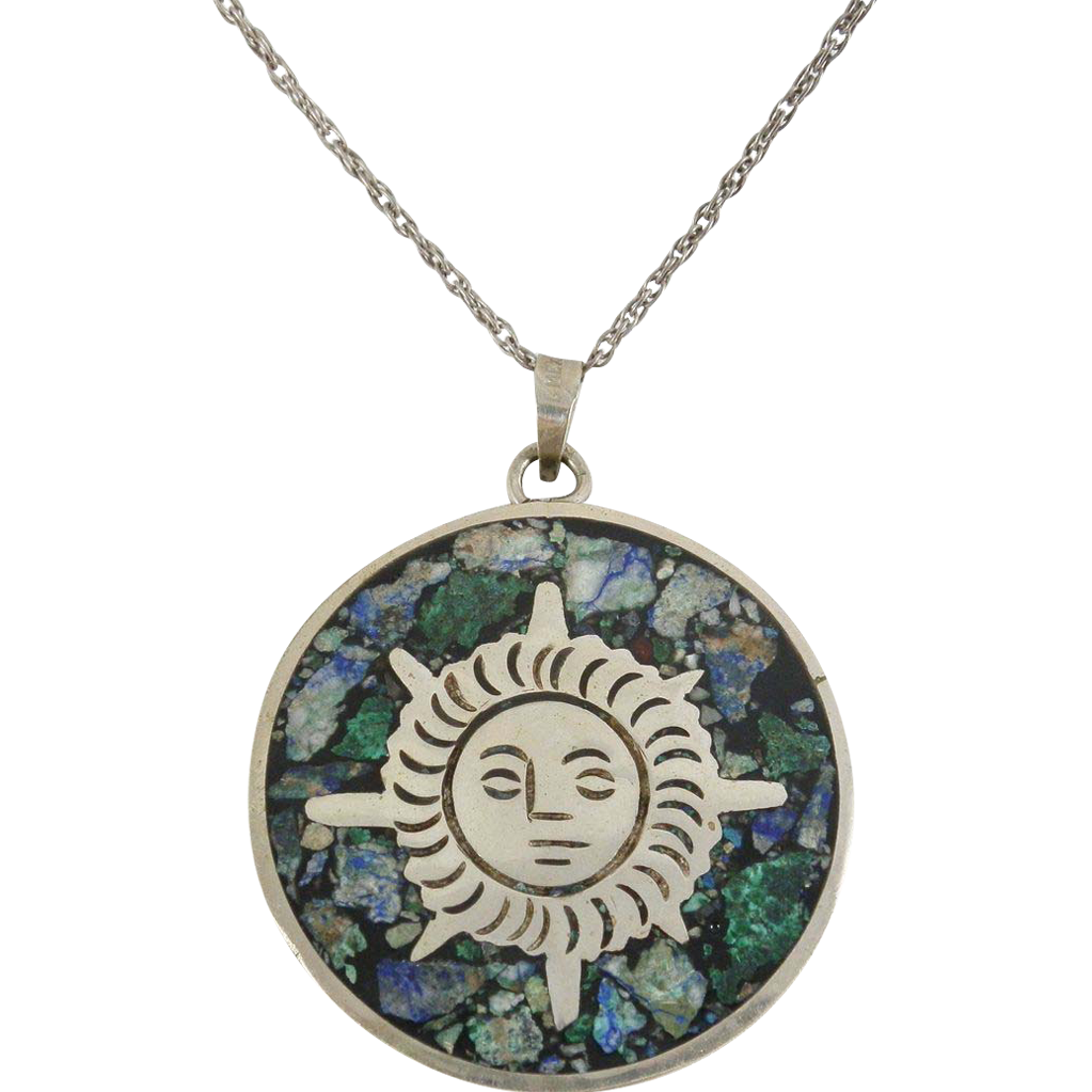 Aztec Calendar Necklace: Double Sided Sterling Silver .925 Mexico Aztec Sun