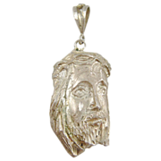 Detailed Religious Face Of Jesus Sterling Silver .925 Necklace Pendant