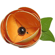 Orange Buttercup Flower Enamel Metal Brooch Pin 2 5/8""
