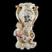SALE Vintage Japanese Porcelain Cherub Grape Floral Bud Vase Impressed NC Gold Gilt