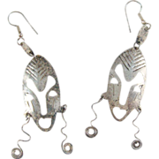 Sterling Silver .925 Retro Abstract Tribal Dangle Drop Mask Earrings