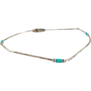 Turquoise Barrel Sterling Silver .925 Bead Native American Bracelet 7.25""