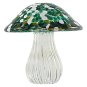 SOLD Art Glass Green White Toadstool Mushroom Handmade In Essex England Paperweight