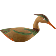 Handcrafted Folk Art Decoy Duck Ismael H.A.S. Wood Hand Carved