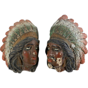 SALE c1900 Hand Painted Pair Spanish Vintage Native American Faces Man Woman Ceramic Wall ...