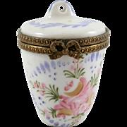 Signed Hand Painted Porcelain Limoges France Floral Trinket Pill Box