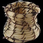 "Native American Miniature Horse Hair Vase Basket 5/8"" Tall ID #54"