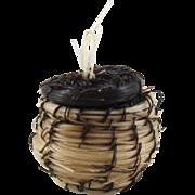 """Native American Miniature Horse Hair Bowl Basket 7/8"""" Tall ID #57"""