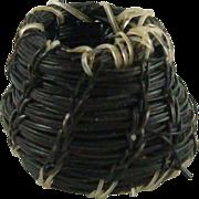 """Native American Miniature Horse Hair Bowl Basket 1/2"""" Tall ID #48"""