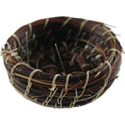 "Native American Miniature Horse Hair Bowl Basket 7/8"" Wide ID #38"