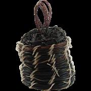 "Native American Miniature Horse Hair Vase Basket 5/8"" Wide ID #31"