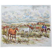 SOLD Ira Moskowitz 1912-2001 w/COA Hand Colored Corral With Taos Indians Signed Print