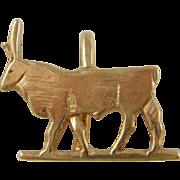 SALE Gold Clad .925 Silver The Bull Egyptian Tutankhamun Pendant Charm W/ COA