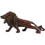 Hand Carved Chinese Ferocious Prowling Lion Wood Sculpture