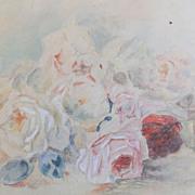 c1900 Original Rose Floral Still Life Watercolor Signed Katie Clark