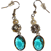 SOLD Artisan Pearl, Rhinestone and Blue Glass Dangle Earrings