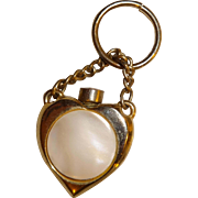 SALE Gold Tone Mother of Pearl Heart Shaped Perfume Pendant