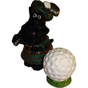 SALE Scotty Dog Playing Golf Salt and Pepper Shakers