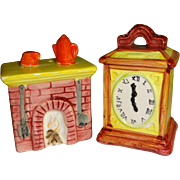 SALE Enesco Colonial Fireplace & Clock Salt and Pepper Shakers