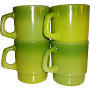 SALE Anchor Hocking Fire King Green Stacking Mugs - Set of 4