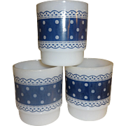 SALE Anchor Hocking Fire King Blue Lace & Polka Dot Stacking Mugs - Set of 3