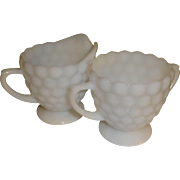 SALE Anchor Hocking Milk Glass Bubble Sugar & Creamer Set