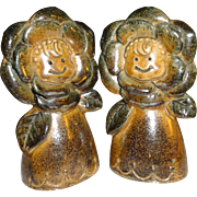 SALE Stoneware Flowers Salt and Pepper Shakers - Made in Japan