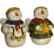 SALE Angel Snowmen with Stars Salt and Pepper Shakers