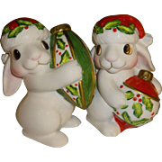 SALE Fitz & Floyd Christmas Bunny Blooms, Salt and Pepper Shakers