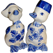 SALE Blue and White Ducks Salt and Pepper Shakers