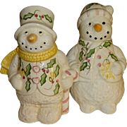 SALE Mr. & Mrs. Floral Snowman Salt and Pepper Shakers