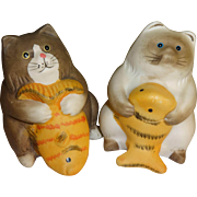 SALE Fat Cats with Fish Salt and Pepper Shakers