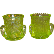 SALE Westmoreland Yellow Green Vaseline Glass Swan Toothpick Holders Set