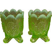 SALE Dugan/Northwood Yellow Green Vaseline Inverted Fan & Feather Pattern Toothpick Holders -
