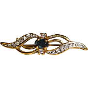 SALE Gold Tone Blue Stone & Rhinestone Bar Pin
