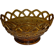 SALE Amber Quilted Button Lace Rim Glass Bowl