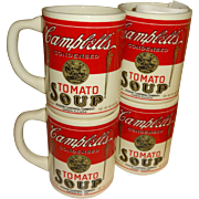 SALE Campbell's Condensed Tomato Soup 1915 Design Ceramic Cups - Set of 4