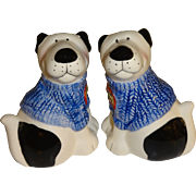 SALE Dogs with Blue Sweaters Salt and Pepper Shakers