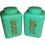 SALE Lustro-Ware Plastic Aqua Canisters Salt and Pepper Shakers