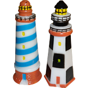SALE Plastic Light Houses Salt and Pepper Shakers