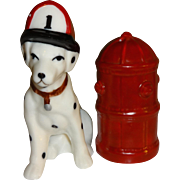 SALE Dalmatian Fire Dog & Red Hydrant Salt and Pepper Shakers