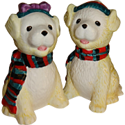 SALE White Puppies Wearing Holiday Scarfs Salt and Pepper Shakers