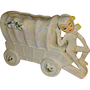 SALE Vintage Lefton Iridescent Pixie Elf Wagon Planter