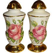 SALE Porcelain Shakers with Gold Trim and Roses Salt and Pepper Shakers