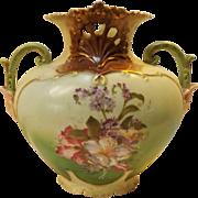 SALE 19th Century Hand Painted Early Art Nouveau Porcelain Vase