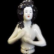 Vintage Porcelain Open and Returning Arm Half Doll